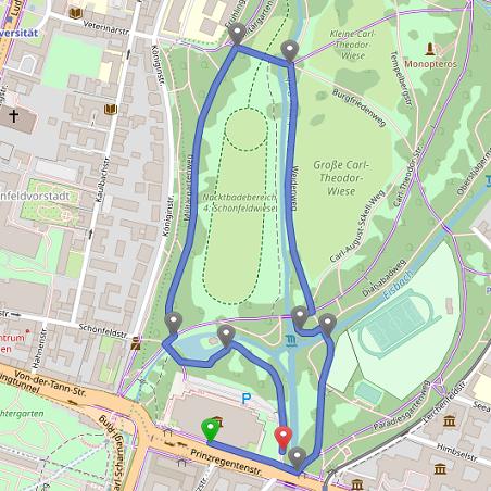 Route Englischer Garten modern